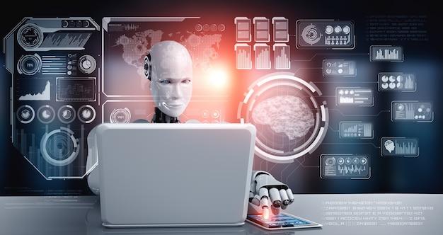 Robot humanoide que usa una computadora portátil y se sienta a la mesa para el análisis de big data usando el cerebro de pensamiento de ia