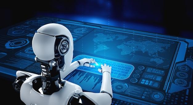 Robot humanoide que usa una computadora portátil y se sienta a la mesa para el análisis de big data