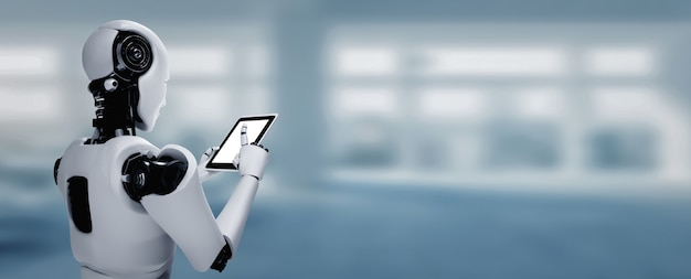 Robot humanoide que usa una tableta en una oficina futura mientras usa el cerebro de pensamiento de ai