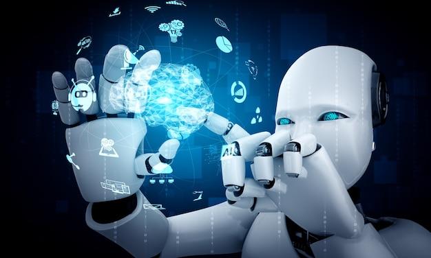 Robot humanoide sostiene la pantalla de holograma de hud en concepto de cerebro pensante de ia