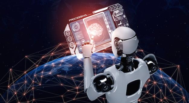 Robot humanoide con tablet pc en concepto de cerebro de pensamiento ai