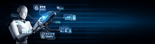 Robot humanoide con tableta para análisis de big data