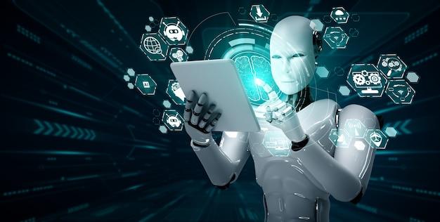Robot humanoide con tableta en concepto de cerebro de pensamiento ai