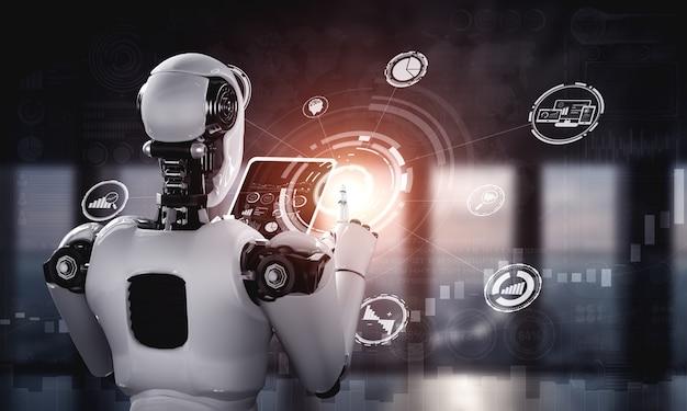 Robot humanoide con tableta para conexión de red global