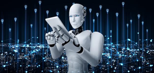 Robot humanoide usa teléfono móvil o tableta para conexión de red global
