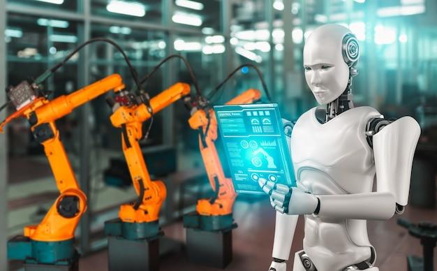 Robot industrial mecanizado y brazos robóticos para montaje en producción en fábrica.