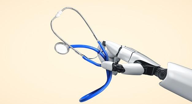 Robot de inteligencia artificial médica de renderizado 3d que trabaja en el futuro hospital. atención médica protésica futurista para el concepto de tecnología biomédica y paciente.