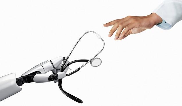 Robot de inteligencia artificial médica de renderizado 3d que trabaja en el futuro hospital