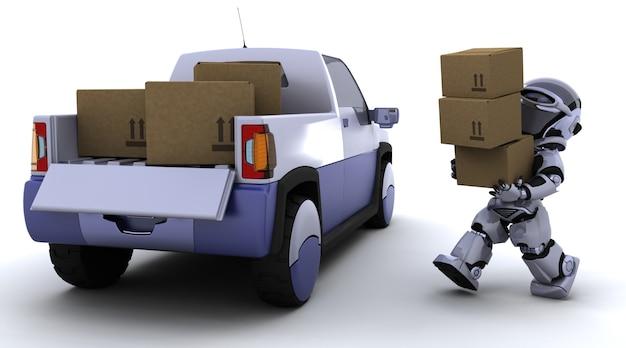 Robot llevando cajas en la parte trasera de una furgoneta