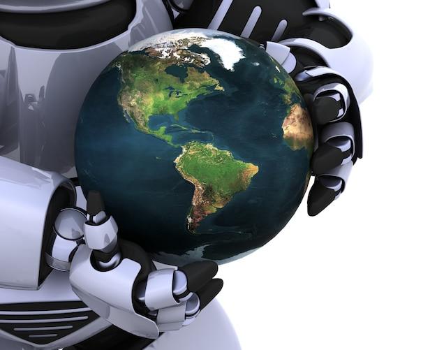 Robot protegiendo la tierra