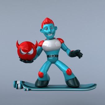 Robot rojo - ilustración 3d