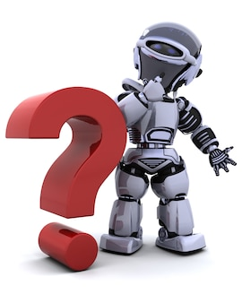 Robot con un símbolo de interrogación