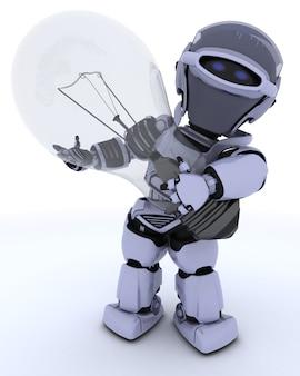 Robot sosteniendo una bombilla