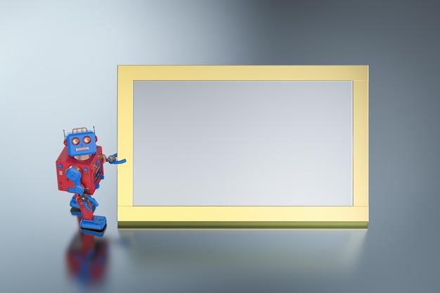 Robot tintoy de renderizado 3d con tablero blanco vacío