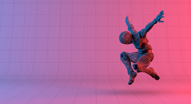 Robot wireframe salto sobre fondo violeta rojo degradado