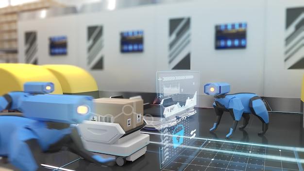 Robots para asegurar almacenes, control de seguridad, renderizado 3d