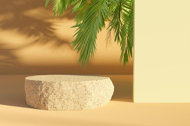 Roca aplanada para presentación del producto con hojas de palmera asomando y haciendo sombras. representación 3d