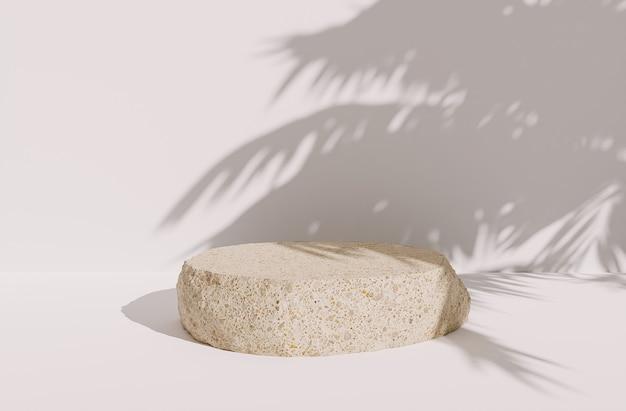 Roca solitaria para presentación de producto sobre fondo blanco con sombras de hojas de palmera. representación 3d