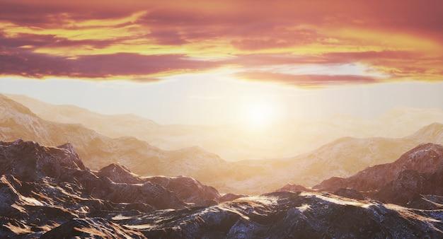 Rocas y hermosa puesta de sol dorada.