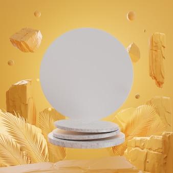 Rocas y piedras 3d en el podio de mármol en la pared amarilla