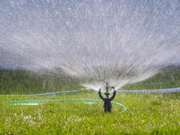 Rociador que salpica el agua al campo de hierba verde, seleccione el foco poca profundidad de campo