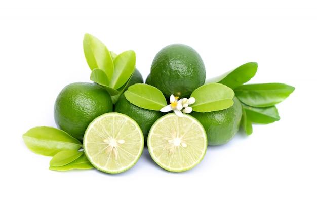 Rodaja de limón fresco y hoja verde aislado