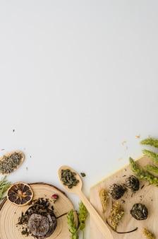 Rodaja de limón seco y varios tipos de hierbas aisladas sobre fondo blanco