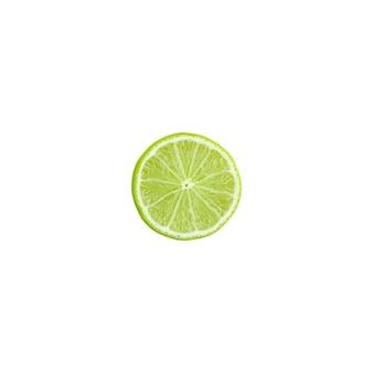 Rodaja de limón verde sobre un fondo blanco.