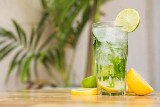 Rodajas de frutas junto a un vaso de bebida con hielo y hierbas a bordo