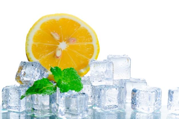 Rodajas de naranja fresca en cubo de hielo y hoja de menta