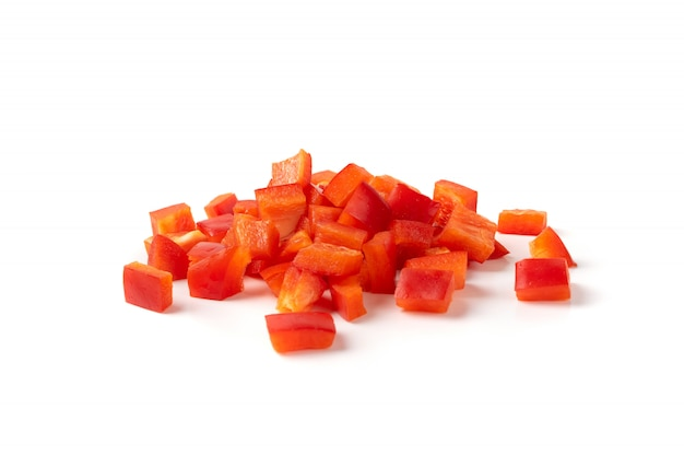 Rodajas de pimentón dulce o pimiento rojo anillos conjunto aislado