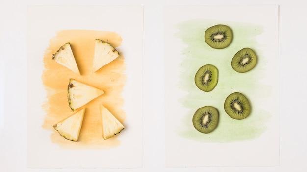 Rodajas de piña y kiwi sobre acuarela pintada.