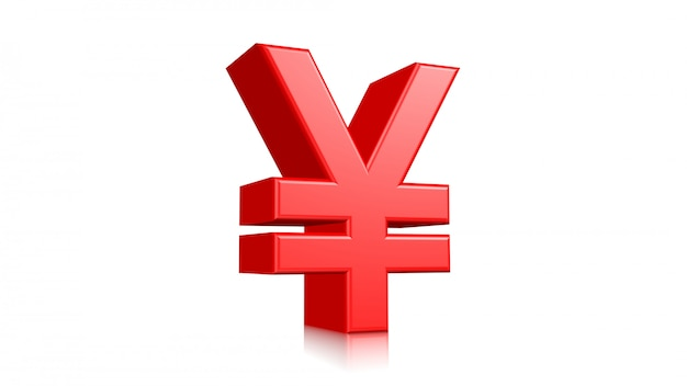 Rojo, 3d, yen japonés, señal, aislado, blanco, fondo., 3d, rendido