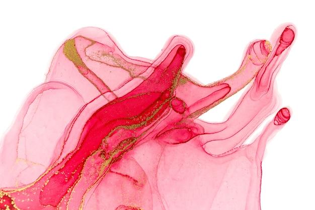 Rojo abstracto sobre fondo blanco. patrón de acuarela rosa y oro.