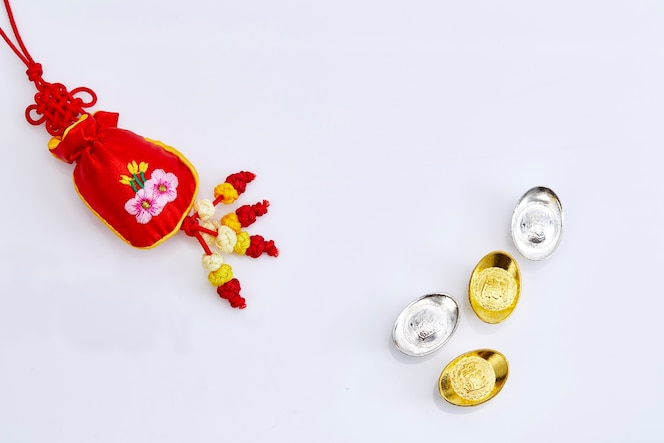 Rojo, afortunado, chino, año nuevo, decorar