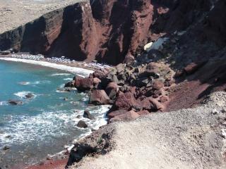 Rojo playa santorini grecia isla