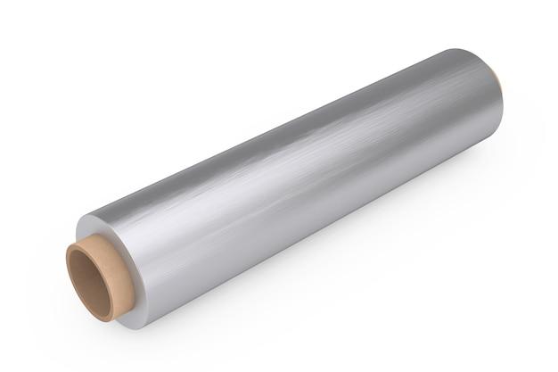 Rollo de papel de aluminio para envasado de metal de alimentos sobre un fondo blanco. representación 3d