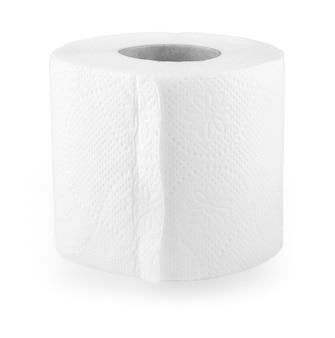 Rollo simple de papel higiénico en el blanco