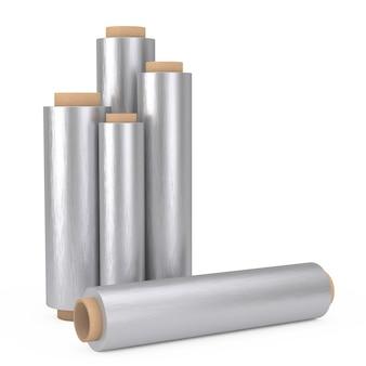 Rollos de papel de aluminio para envasado de metal de alimentos sobre un fondo blanco. representación 3d