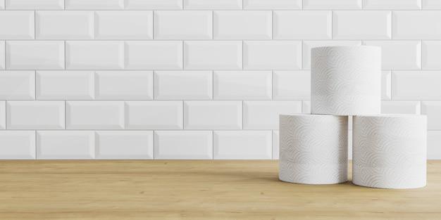 Rollos de papel higiénico sobre fondo de azulejos de madera y blanco. rollo de papel higiénico sobre una mesa, fondo