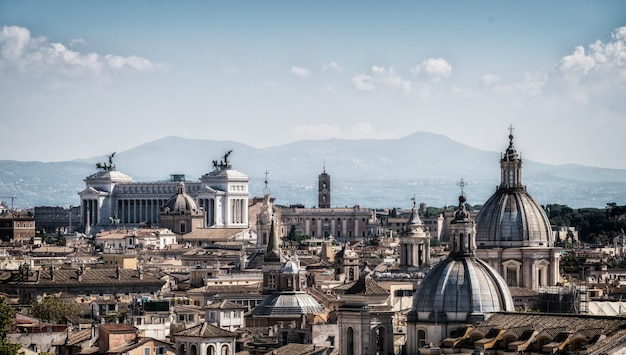 Roma, italia skyline en vista panorámica