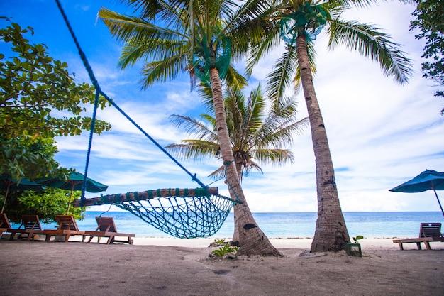 Romántica hamaca acogedora a la sombra de palmeras en playa tropical