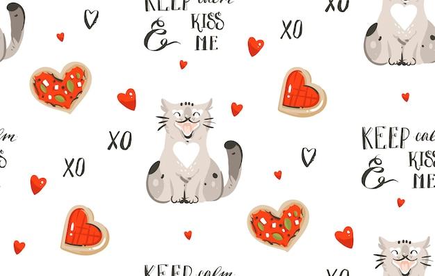 Romántico de patrones sin fisuras con lindos gatos, pizza, caligrafía manuscrita y corazones
