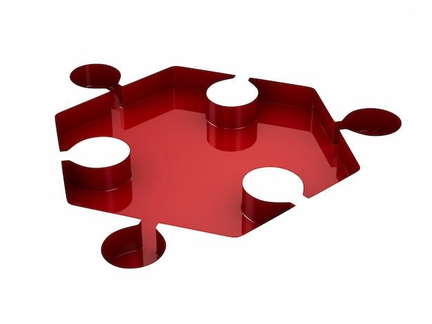 Rompecabezas rojo sobre fondo blanco. ilustración 3d aislada