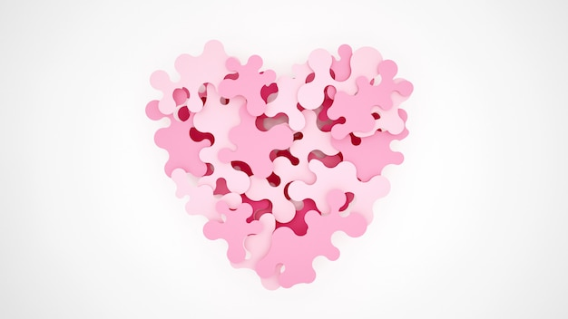 Los rompecabezas rosa se combinan para formar corazones.