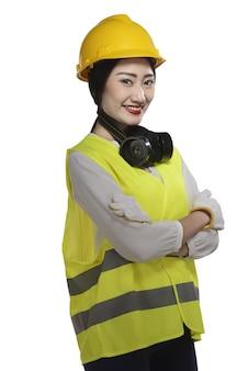 Ropa de mujer asiática tenía sombrero y chaleco de seguridad