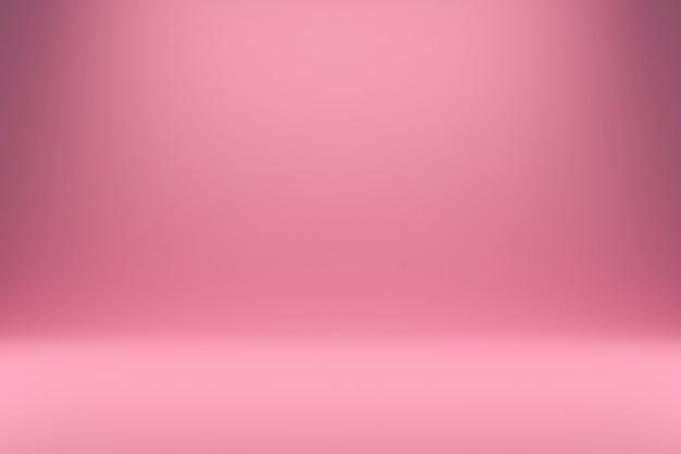 Rosa abstracta y luz degradada con telones de fondo de estudio. pantalla en blanco o sala limpia para mostrar el producto. render 3d realista.