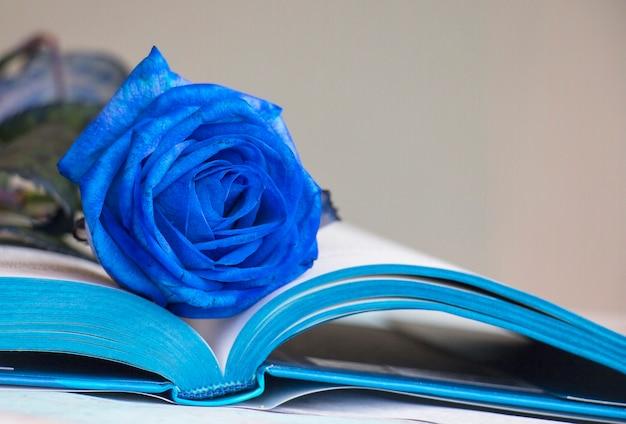 Rosa azul sobre un libro azul de cerca