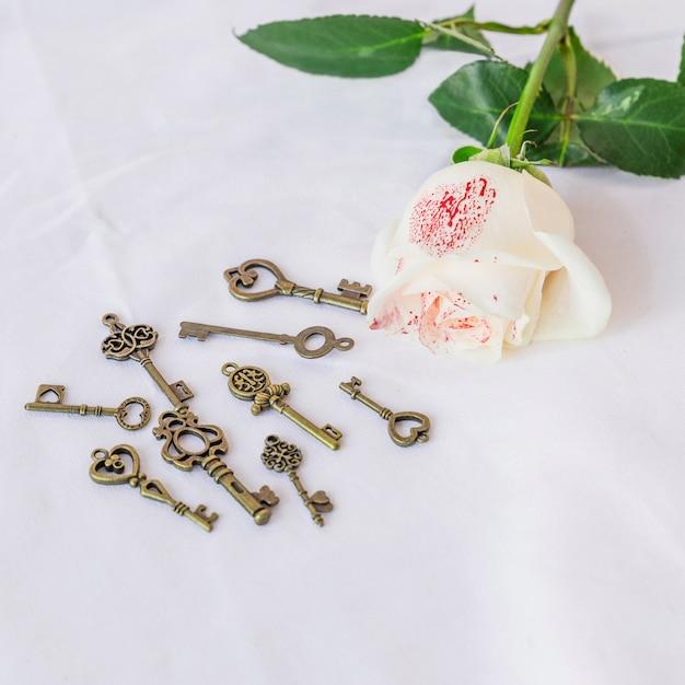 Rosa blanca pintada con pequeñas llaves en mesa.