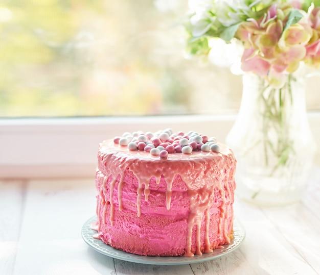 Rosa pastel de pascua, un delicioso regalo para el día de la madre, dulces de cumpleaños